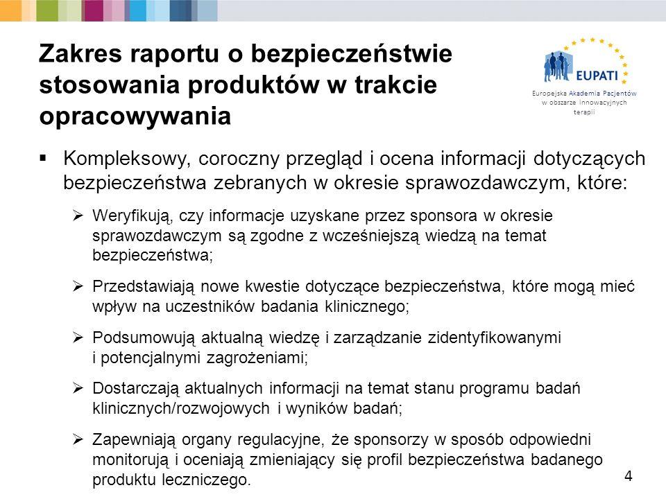 Europejska Akademia Pacjentów w obszarze innowacyjnych terapii  Kompleksowy, coroczny przegląd i ocena informacji dotyczących bezpieczeństwa zebranyc