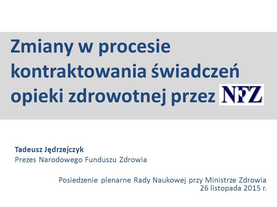 Zmiany w procesie kontraktowania świadczeń opieki zdrowotnej przez Tadeusz Jędrzejczyk Prezes Narodowego Funduszu Zdrowia Posiedzenie plenarne Rady Na