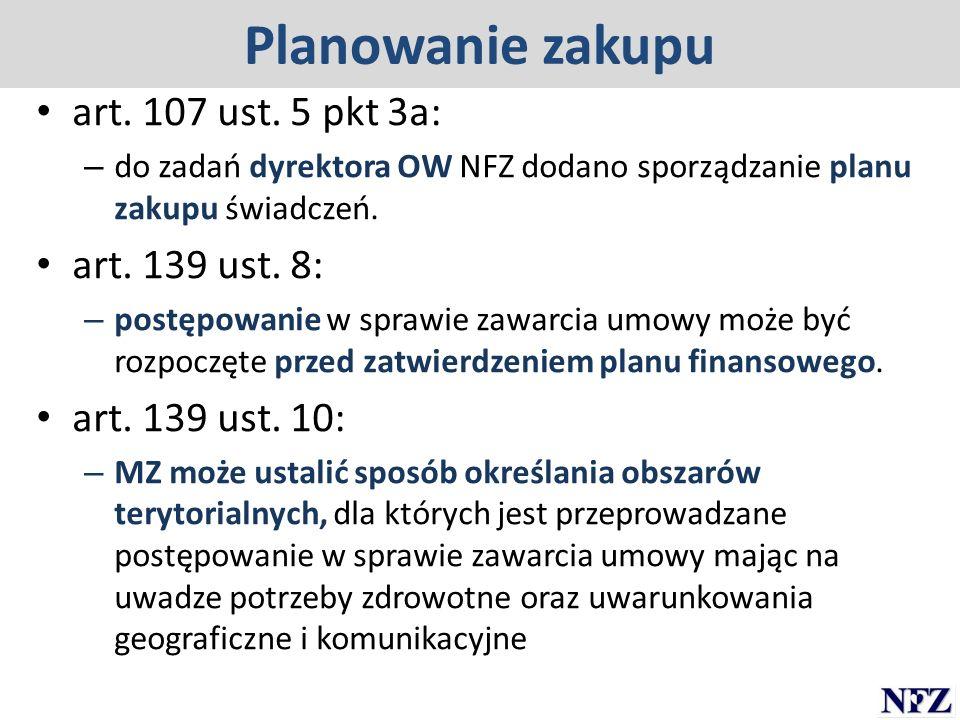 Planowanie zakupu art. 107 ust. 5 pkt 3a: – do zadań dyrektora OW NFZ dodano sporządzanie planu zakupu świadczeń. art. 139 ust. 8: – postępowanie w sp