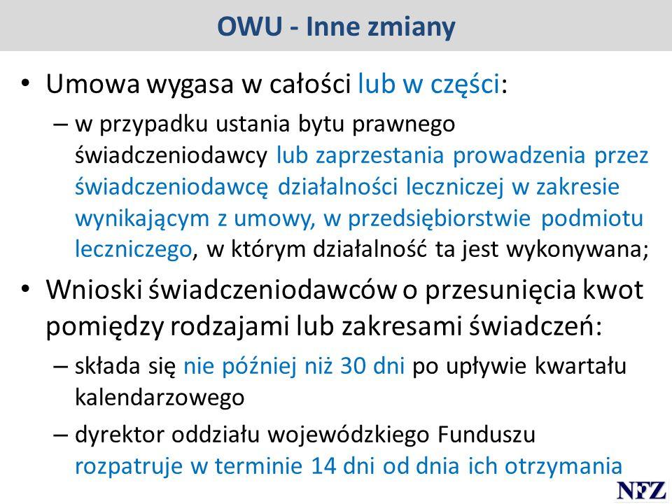 OWU - Inne zmiany Umowa wygasa w całości lub w części: – w przypadku ustania bytu prawnego świadczeniodawcy lub zaprzestania prowadzenia przez świadcz