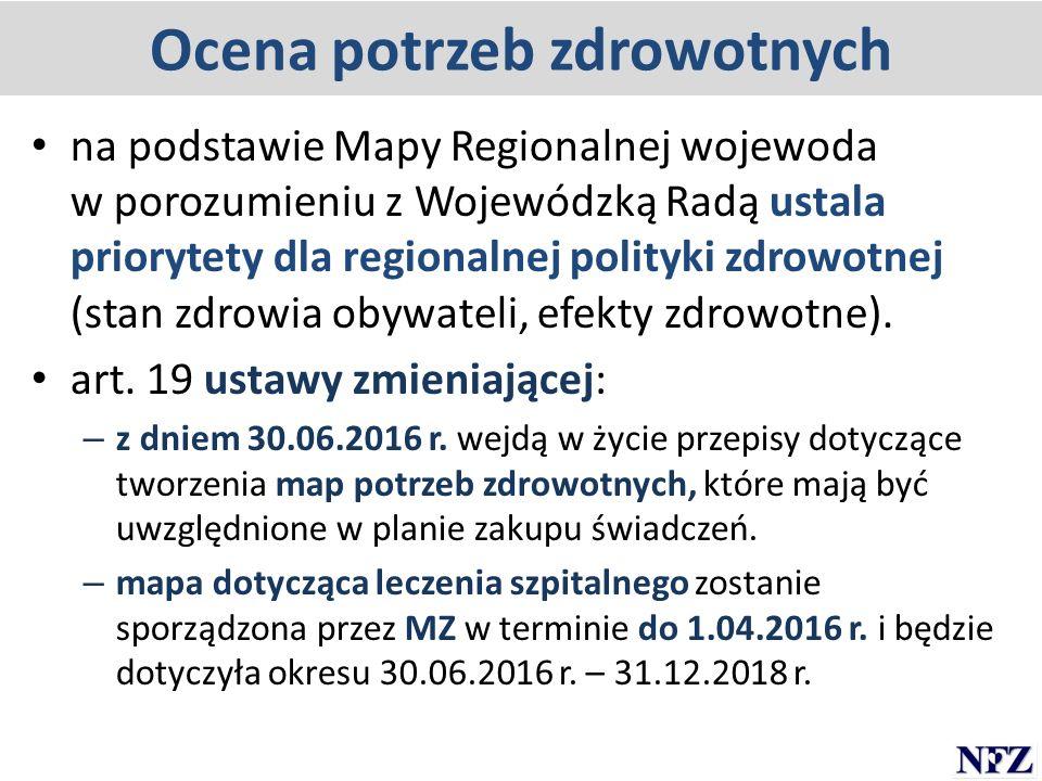 Ocena potrzeb zdrowotnych na podstawie Mapy Regionalnej wojewoda w porozumieniu z Wojewódzką Radą ustala priorytety dla regionalnej polityki zdrowotne