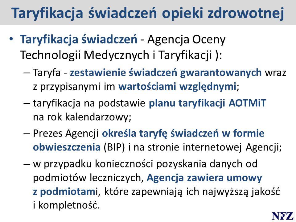 Taryfikacja świadczeń opieki zdrowotnej Taryfikacja świadczeń - Agencja Oceny Technologii Medycznych i Taryfikacji ): – Taryfa - zestawienie świadczeń