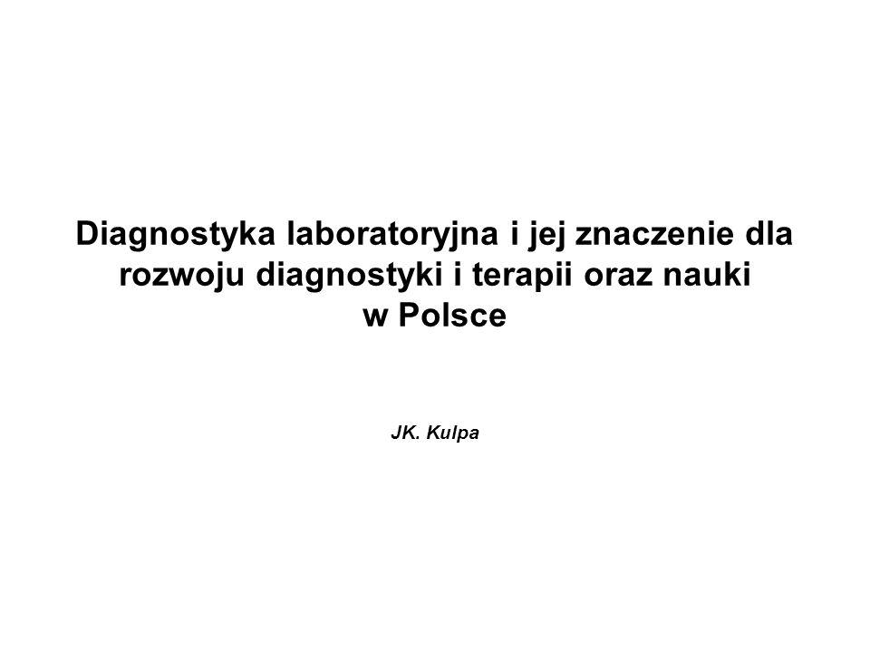 Diagnostyka laboratoryjna i jej znaczenie dla rozwoju diagnostyki i terapii oraz nauki w Polsce JK. Kulpa