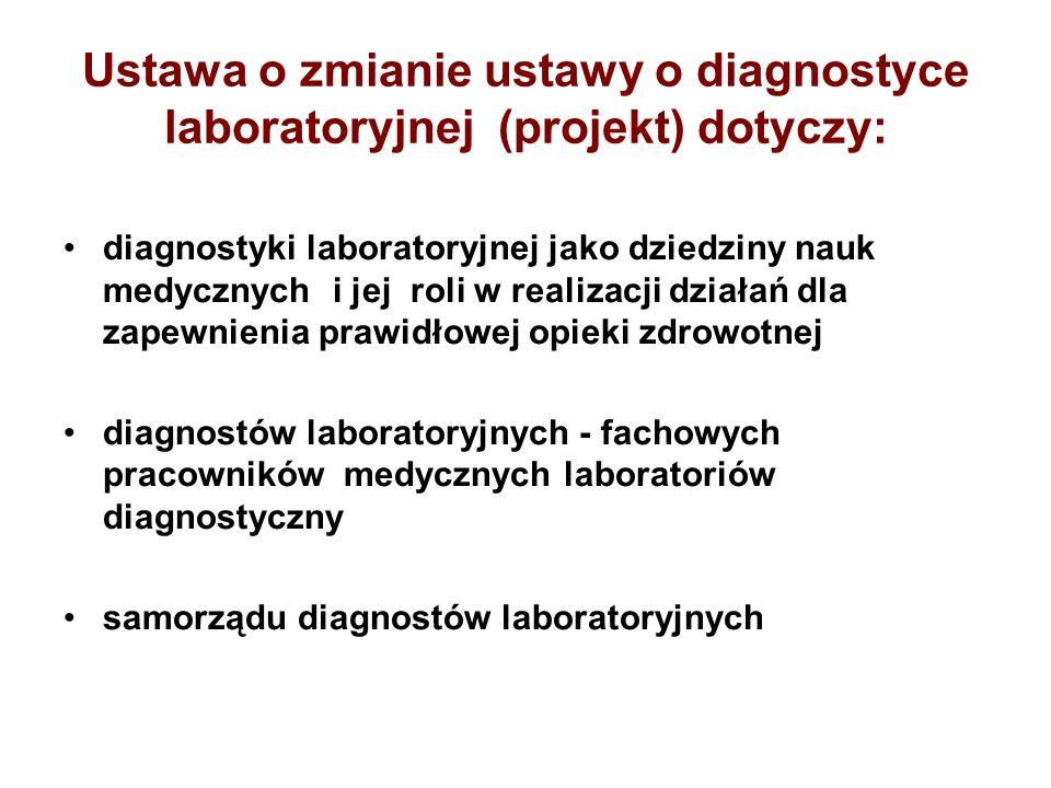 Ustawa o zmianie ustawy o diagnostyce laboratoryjnej (projekt) dotyczy: diagnostyki laboratoryjnej jako dziedziny nauk medycznych i jej roli w realiza