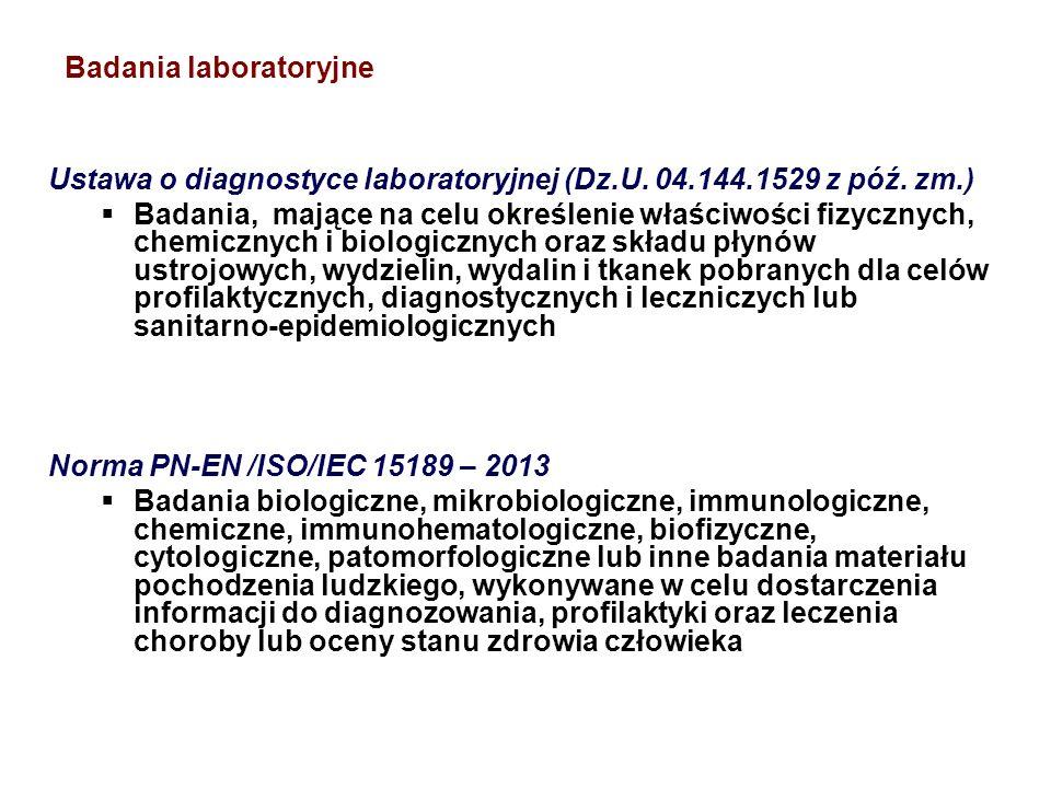 Badania laboratoryjne Ustawa o diagnostyce laboratoryjnej (Dz.U. 04.144.1529 z póź. zm.)  Badania, mające na celu określenie właściwości fizycznych,
