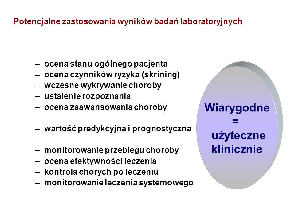 Potencjalne zastosowania wyników badań laboratoryjnych –ocena stanu ogólnego pacjenta –ocena czynników ryzyka (skrining) –wczesne wykrywanie choroby –