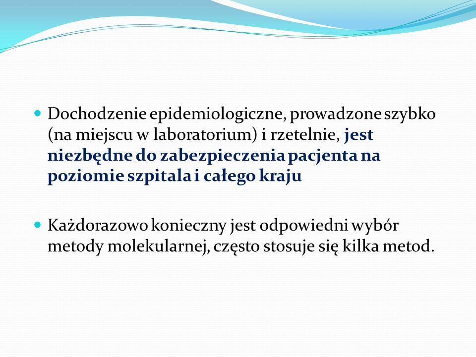 Dochodzenie epidemiologiczne, prowadzone szybko (na miejscu w laboratorium) i rzetelnie, jest niezbędne do zabezpieczenia pacjenta na poziomie szpital