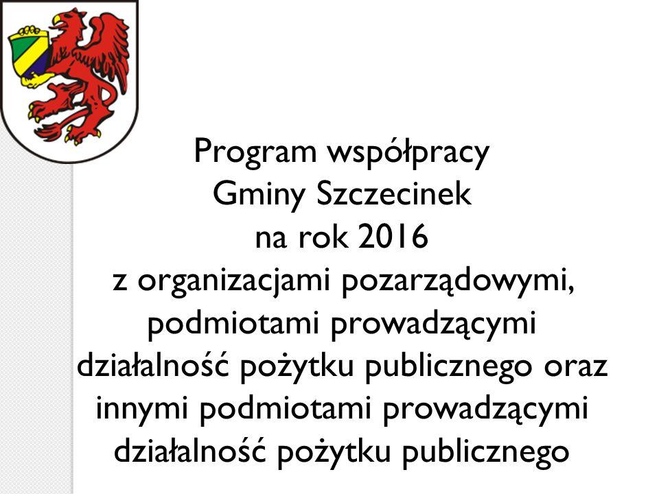 Program współpracy Gminy Szczecinek na rok 2016 z organizacjami pozarządowymi, podmiotami prowadzącymi działalność pożytku publicznego oraz innymi podmiotami prowadzącymi działalność pożytku publicznego