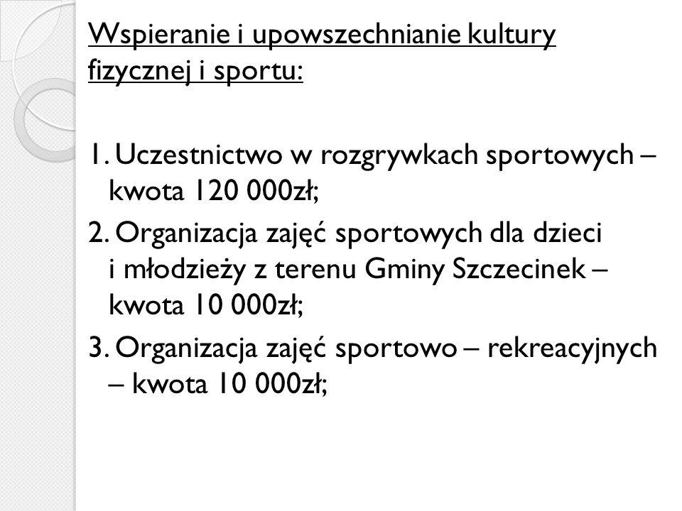 Wspieranie i upowszechnianie kultury fizycznej i sportu: 1.