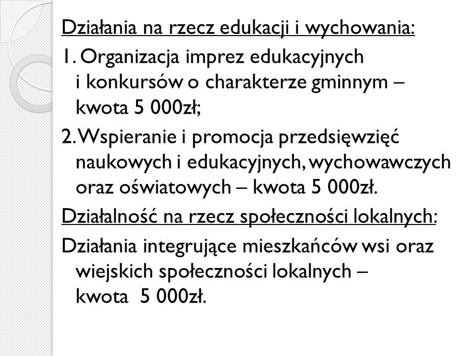 Działania na rzecz edukacji i wychowania: 1.