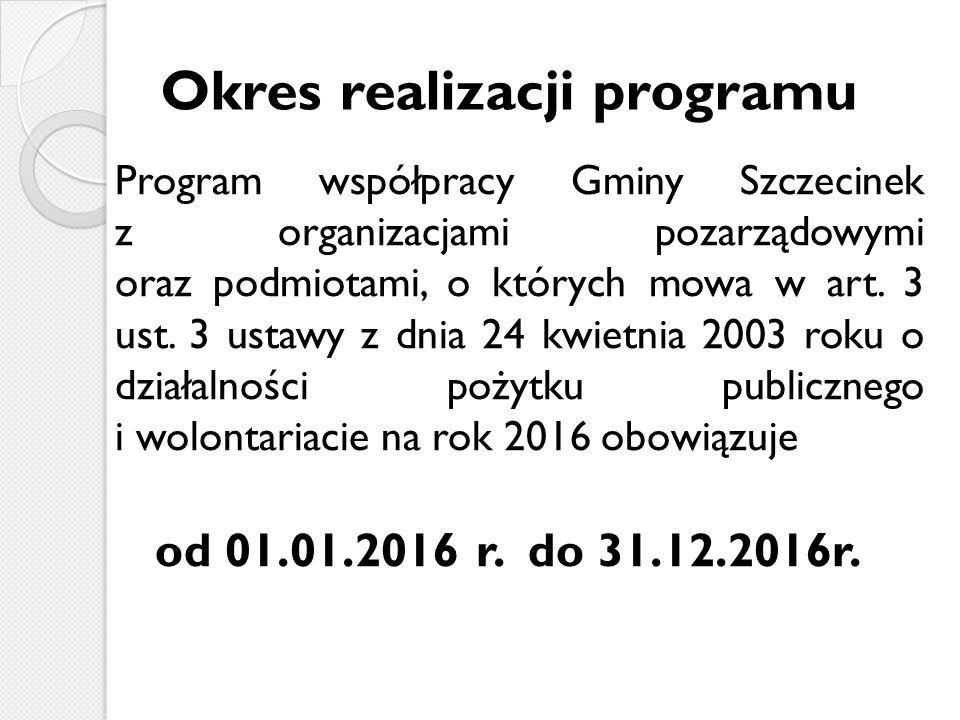 Okres realizacji programu Program współpracy Gminy Szczecinek z organizacjami pozarządowymi oraz podmiotami, o których mowa w art.