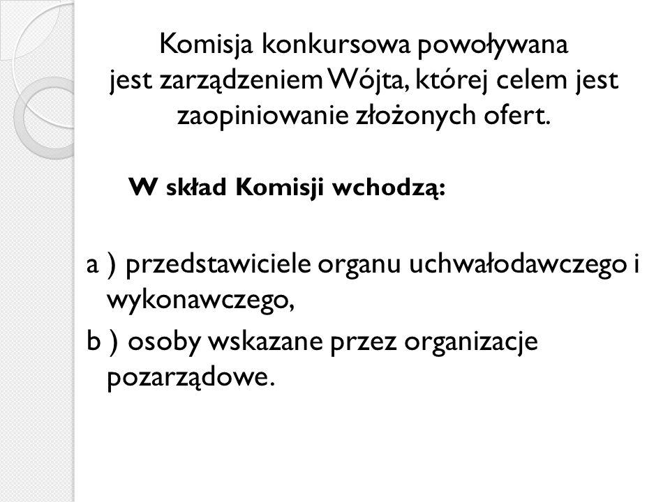 Komisja konkursowa powoływana jest zarządzeniem Wójta, której celem jest zaopiniowanie złożonych ofert.