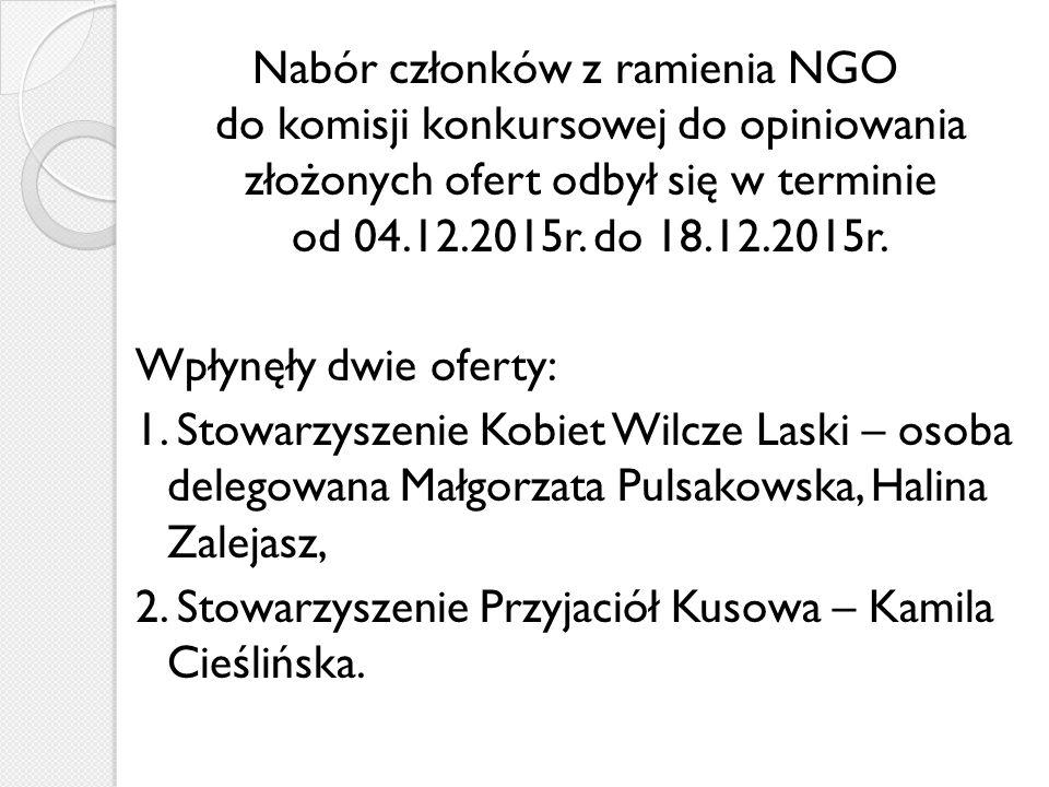 Nabór członków z ramienia NGO do komisji konkursowej do opiniowania złożonych ofert odbył się w terminie od 04.12.2015r.