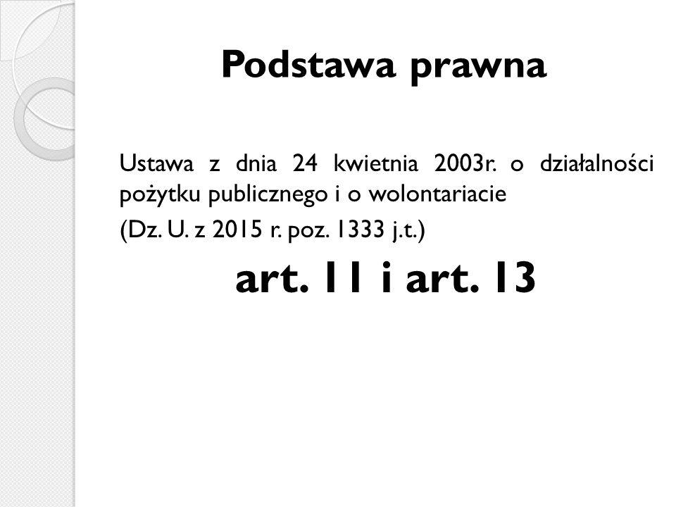 Podstawa prawna Ustawa z dnia 24 kwietnia 2003r.