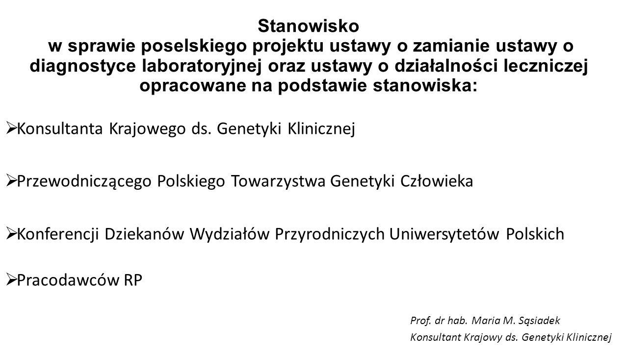 Stanowisko w sprawie poselskiego projektu ustawy o zamianie ustawy o diagnostyce laboratoryjnej oraz ustawy o działalności leczniczej opracowane na po
