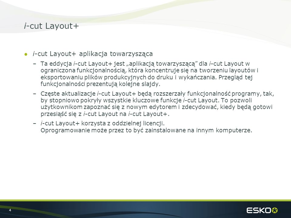 "4 i-cut Layout+ ●i-cut Layout+ aplikacja towarzysząca –Ta eddycja i-cut Layout+ jest ""aplikacją towarzyszącą"" dla i-cut Layout w ograniczona funkcjona"