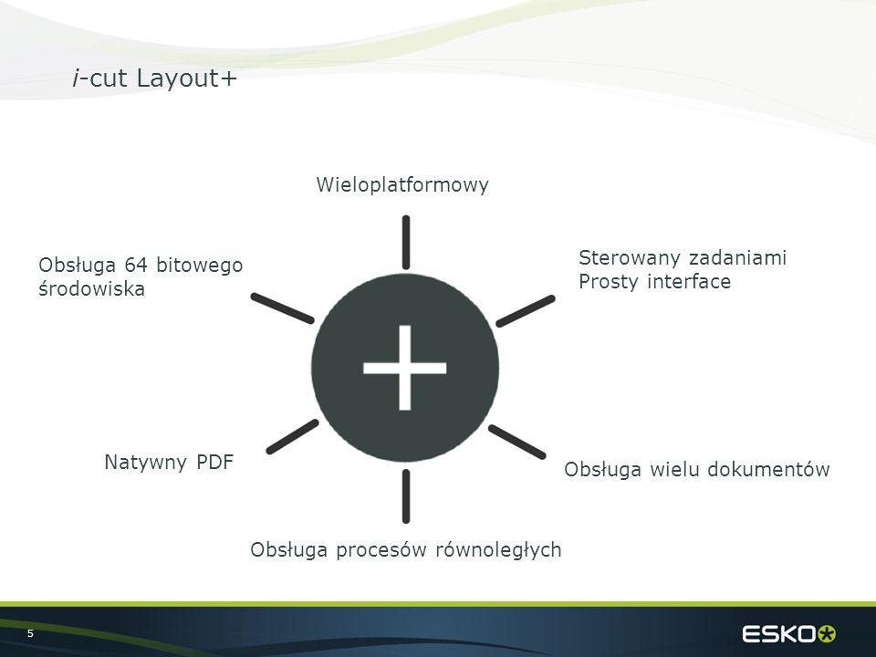 5 i-cut Layout+ Wieloplatformowy Obsługa wielu dokumentów Natywny PDF Obsługa 64 bitowego środowiska Obsługa procesów równoległych Sterowany zadaniami Prosty interface
