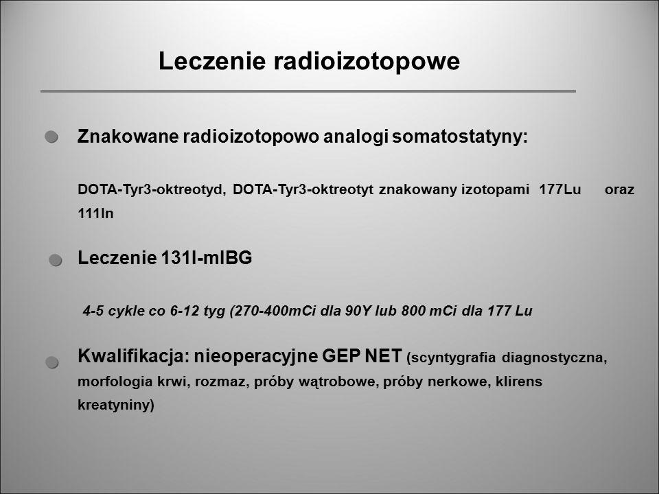 Leczenie radioizotopowe Znakowane radioizotopowo analogi somatostatyny: DOTA-Tyr3-oktreotyd, DOTA-Tyr3-oktreotyt znakowany izotopami 177Lu oraz 111In