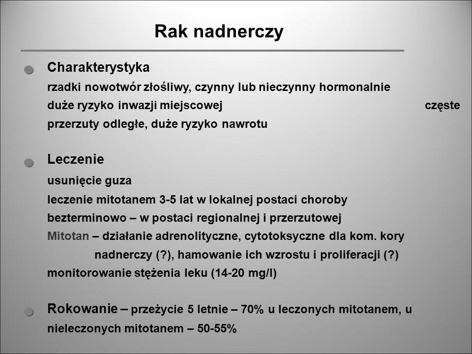 Rak nadnerczy Charakterystyka rzadki nowotwór złośliwy, czynny lub nieczynny hormonalnie duże ryzyko inwazji miejscowej częste przerzuty odległe, duże