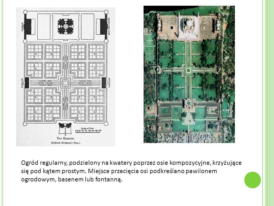 Ogród regularny, podzielony na kwatery poprzez osie kompozycyjne, krzyżujące się pod kątem prostym. Miejsce przecięcia osi podkreślano pawilonem ogrod