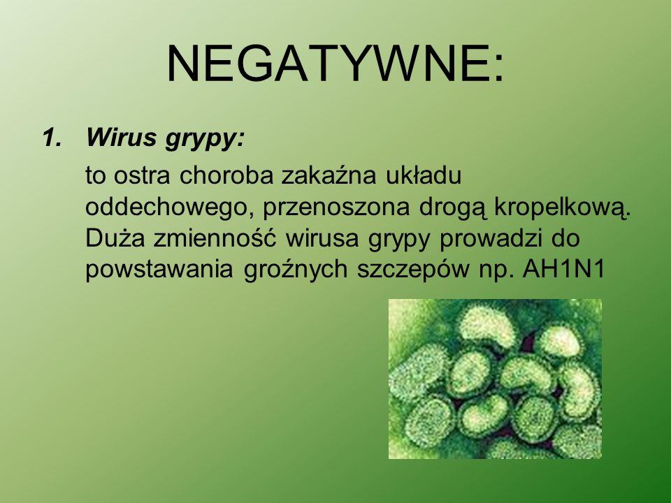 NEGATYWNE: 1.Wirus grypy: to ostra choroba zakaźna układu oddechowego, przenoszona drogą kropelkową.