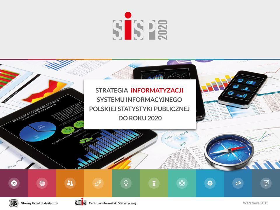 WIZJA Służby informatyczne statystyki publicznej wypełniają swoją misję poprzez: Świadczenie usług informatycznych zapewniających adekwatny do potrzeb, bezpieczny i ciągły dostęp do narzędzi informatycznych oraz aktywów informacyjnych Dostarczanie nowych usług informatycznych wspierających realizację nowych zadań statystyki lub zastosowania nowych metod realizacji zadań Aktywne wspieranie rozwoju cyfrowych kompetencji służb statystyki publicznej Dzielenie się kompetencjami i doświadczeniami w stosowaniu norm, standardów i dobrych praktyk Śledzenie nowych rozwiązań informatycznych oraz ocena możliwości ich zastosowania w statystyce Inicjowanie i stymulowanie stosowania rozwiązań informatycznych w statystyce Służby informatyczne polskiej statystyki publicznej dążą do osiągnięcia organizacyjnej, procesowej i zawodowej doskonałości poprzez podnoszenie własnych kompetencji, śledzenie nowych trendów i rozwiązań oraz stosowanie norm, standardów i dobrych praktyk.