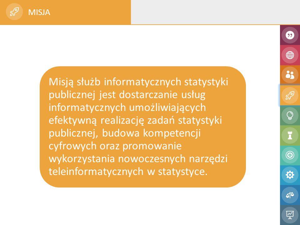 Misją służb informatycznych statystyki publicznej jest dostarczanie usług informatycznych umożliwiających efektywną realizację zadań statystyki publicznej, budowa kompetencji cyfrowych oraz promowanie wykorzystania nowoczesnych narzędzi teleinformatycznych w statystyce.