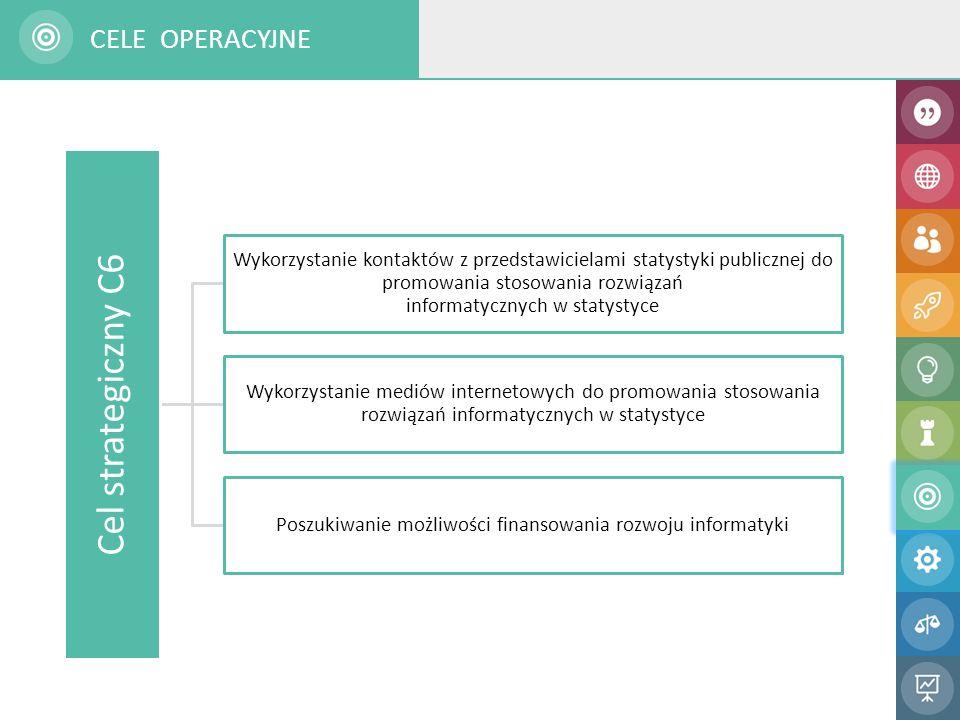 Cel strategiczny C6 Wykorzystanie kontaktów z przedstawicielami statystyki publicznej do promowania stosowania rozwiązań informatycznych w statystyce Wykorzystanie mediów internetowych do promowania stosowania rozwiązań informatycznych w statystyce Poszukiwanie możliwości finansowania rozwoju informatyki CELE OPERACYJNE