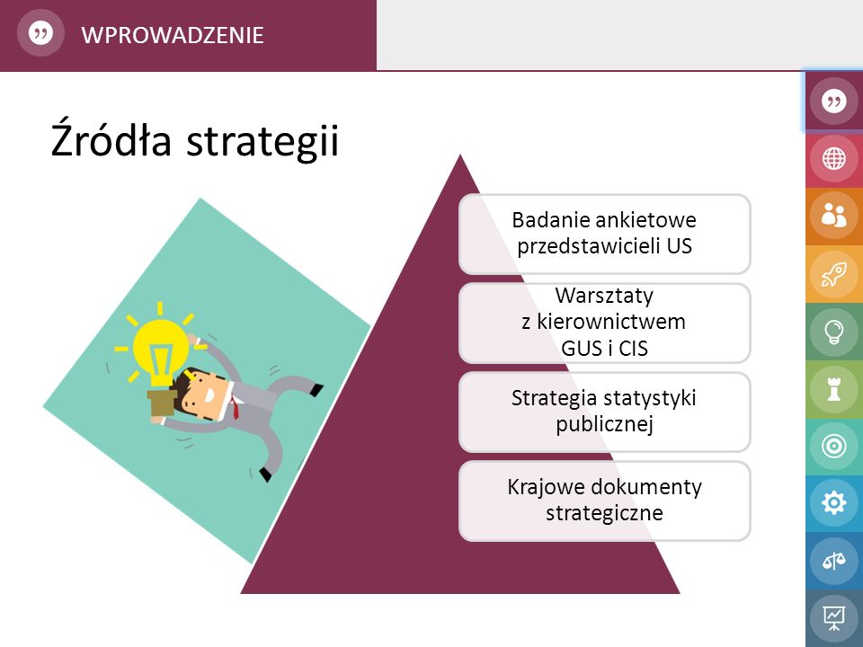 Mocne strony: Wspólne zarządzanie na poziomie strategicznym Wspólne zarządzanie na poziomie strategicznym Dobrze rozwinięta infrastruktura informatyczna Dobrze rozwinięta infrastruktura informatyczna Doświadczona kadra Słabe strony: Brak wspólnego zarządzania na poziomie operacyjnym Brak wspólnego zarządzania na poziomie operacyjnym Brak pełnej integracji systemów Niewystarczające kadry CIS Szanse: Uznanie statystyki publicznej jako istotnego elementu usług publicznych państwa Uznanie statystyki publicznej jako istotnego elementu usług publicznych państwa Pojawianie się nowych źródeł danych Postęp w technologiach informacyjno- komunikacyjnych Postęp w technologiach informacyjno- komunikacyjnych Zagrożenia: Rynek pracy nie sprzyja utrzymaniu wykwalifikowanych pracowników Rynek pracy nie sprzyja utrzymaniu wykwalifikowanych pracowników Rosnące zagrożenie cyberatakami Konieczność ponoszenia kosztów modernizacji i wymiany zasobów Konieczność ponoszenia kosztów modernizacji i wymiany zasobów OTOCZENIE