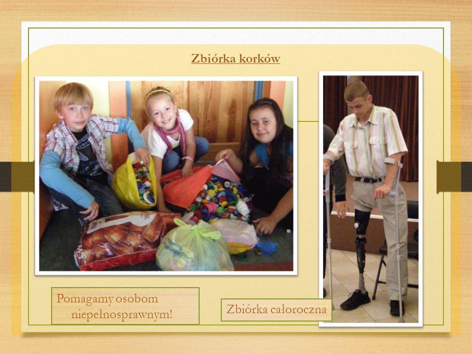 Zbiórka korków Pomagamy osobom niepełnosprawnym! Zbiórka całoroczna
