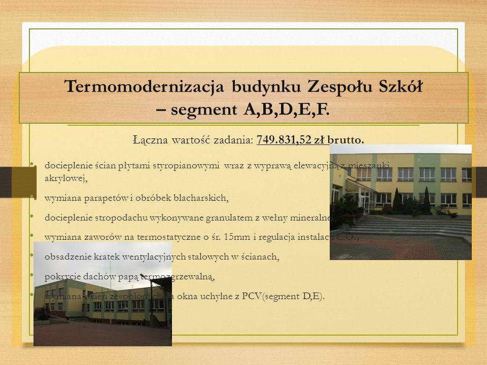 Termomodernizacja budynku Zespołu Szkół – segment A,B,D,E,F.