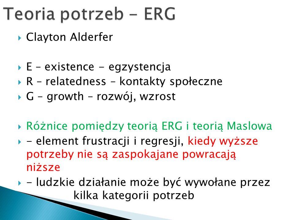  Clayton Alderfer  E – existence - egzystencja  R – relatedness – kontakty społeczne  G – growth – rozwój, wzrost  Różnice pomiędzy teorią ERG i