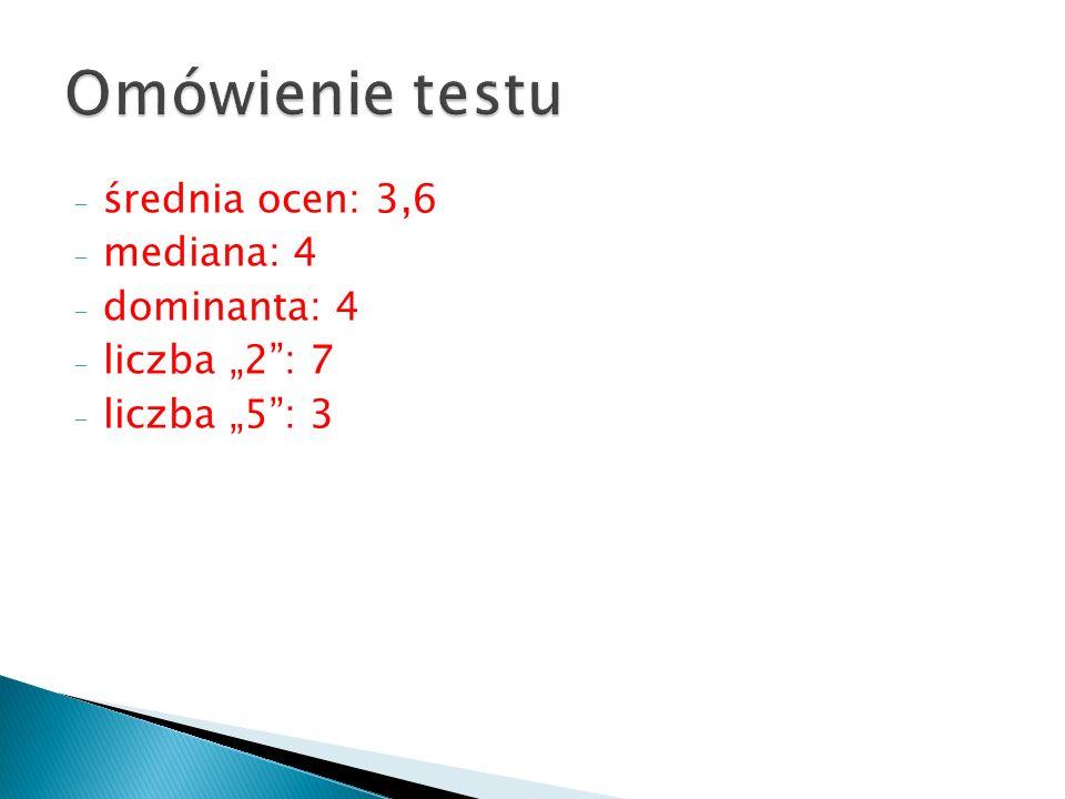 """- średnia ocen: 3,6 - mediana: 4 - dominanta: 4 - liczba """"2 : 7 - liczba """"5 : 3"""