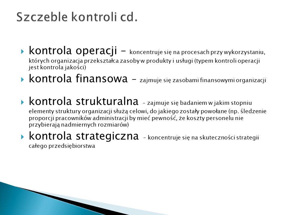  kontrola operacji – koncentruje się na procesach przy wykorzystaniu, których organizacja przekształca zasoby w produkty i usługi (typem kontroli operacji jest kontrola jakości)  kontrola finansowa – zajmuje się zasobami finansowymi organizacji  kontrola strukturalna – zajmuje się badaniem w jakim stopniu elementy struktury organizacji służą celowi, do jakiego zostały powołane (np.