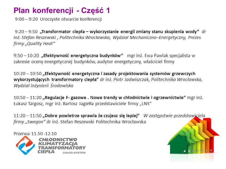 """Plan konferencji - Część 1 9:00 – 9:20 Uroczyste otwarcie konferencji 9:20 – 9:50 """"Transformator ciepła – wykorzystanie energii zmiany stanu skupienia wody dr inż."""