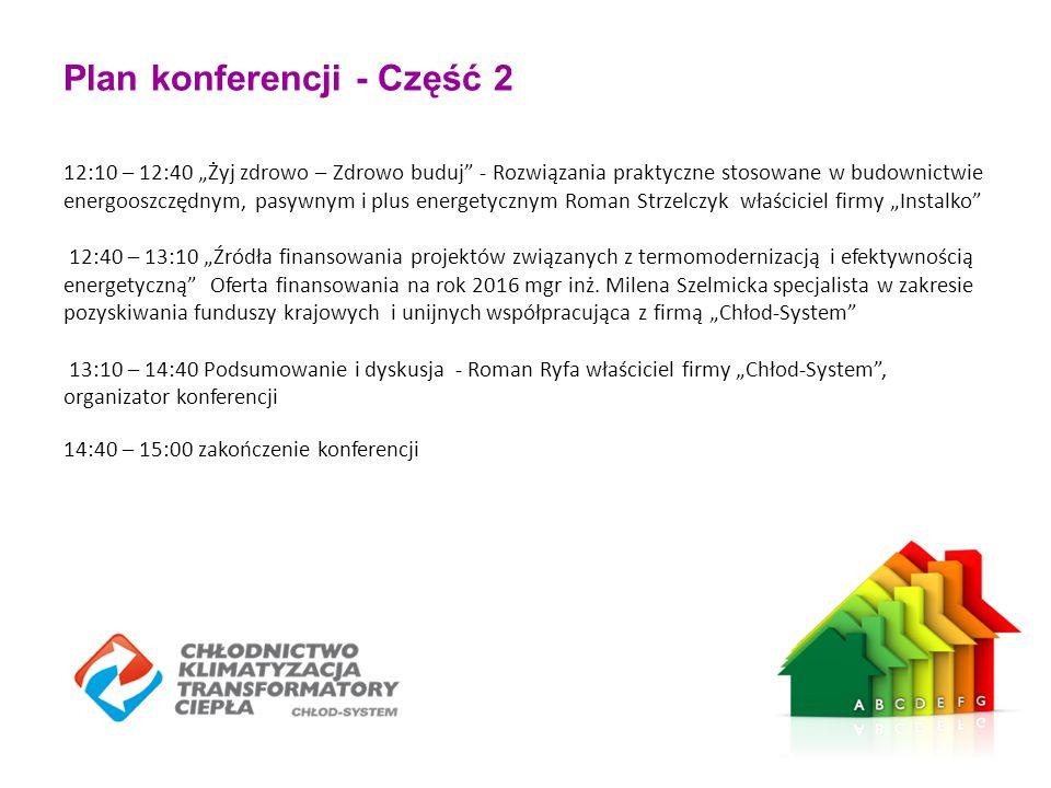 """Plan konferencji - Część 2 12:10 – 12:40 """"Żyj zdrowo – Zdrowo buduj"""" - Rozwiązania praktyczne stosowane w budownictwie energooszczędnym, pasywnym i pl"""