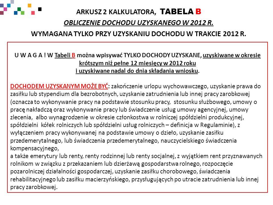 ARKUSZ 2 KALKULATORA, TABELA B OBLICZENIE DOCHODU UZYSKANEGO W 2012 R.