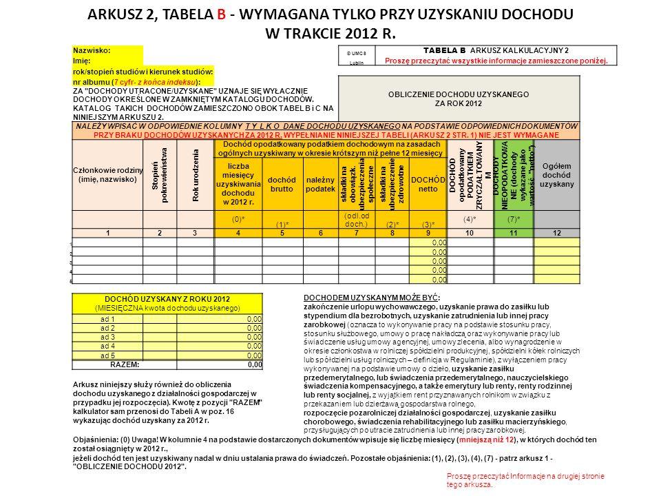 Nazwisko: © UMCS TABELA B ARKUSZ KALKULACYJNY 2 Imię: Lublin Proszę przeczytać wszystkie informacje zamieszczone poniżej.