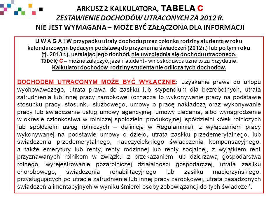 ARKUSZ 2 KALKULATORA, TABELA C ZESTAWIENIE DOCHODÓW UTRACONYCH ZA 2012 R.
