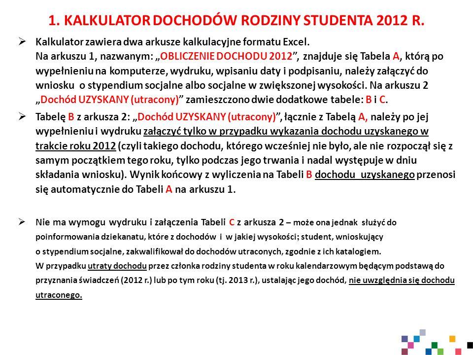 1. KALKULATOR DOCHODÓW RODZINY STUDENTA 2012 R.