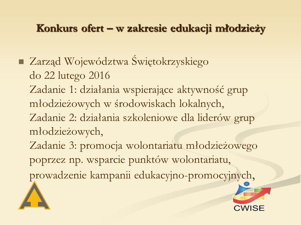 Konkurs ofert – w zakresie edukacji młodzieży Zarząd Województwa Świętokrzyskiego do 22 lutego 2016 Zadanie 1: działania wspierające aktywność grup młodzieżowych w środowiskach lokalnych, Zadanie 2: działania szkoleniowe dla liderów grup młodzieżowych, Zadanie 3: promocja wolontariatu młodzieżowego poprzez np.