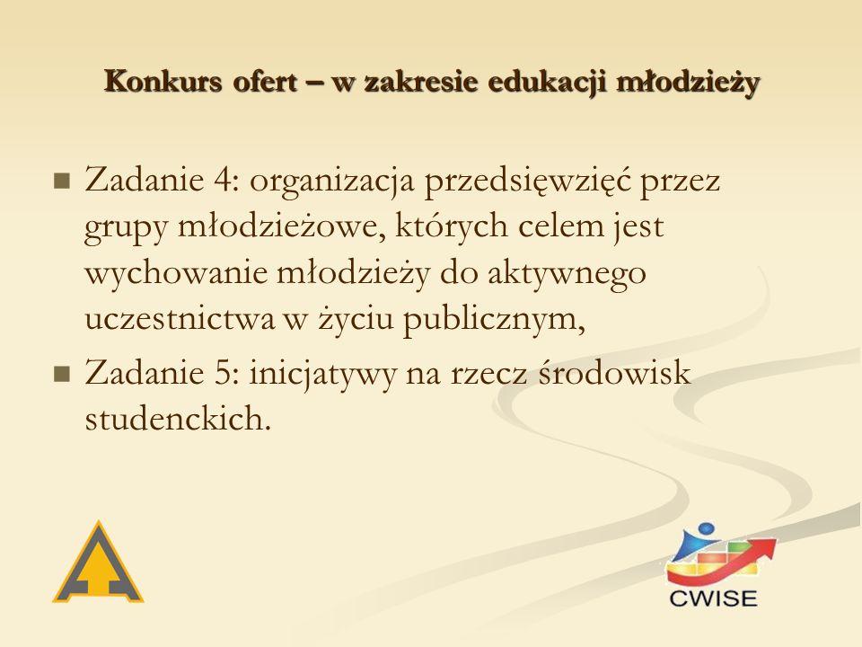 Konkurs ofert – w zakresie edukacji młodzieży Zadanie 4: organizacja przedsięwzięć przez grupy młodzieżowe, których celem jest wychowanie młodzieży do aktywnego uczestnictwa w życiu publicznym, Zadanie 5: inicjatywy na rzecz środowisk studenckich.