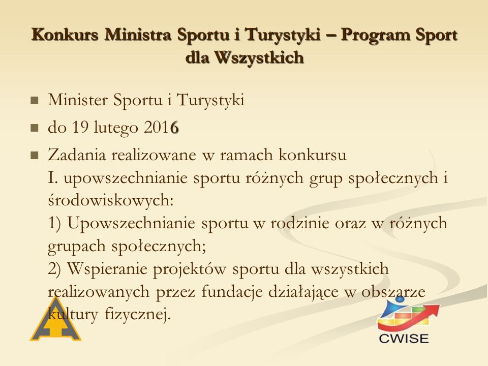 Konkurs Ministra Sportu i Turystyki – Program Sport dla Wszystkich Minister Sportu i Turystyki 6 do 19 lutego 2016 Zadania realizowane w ramach konkursu I.