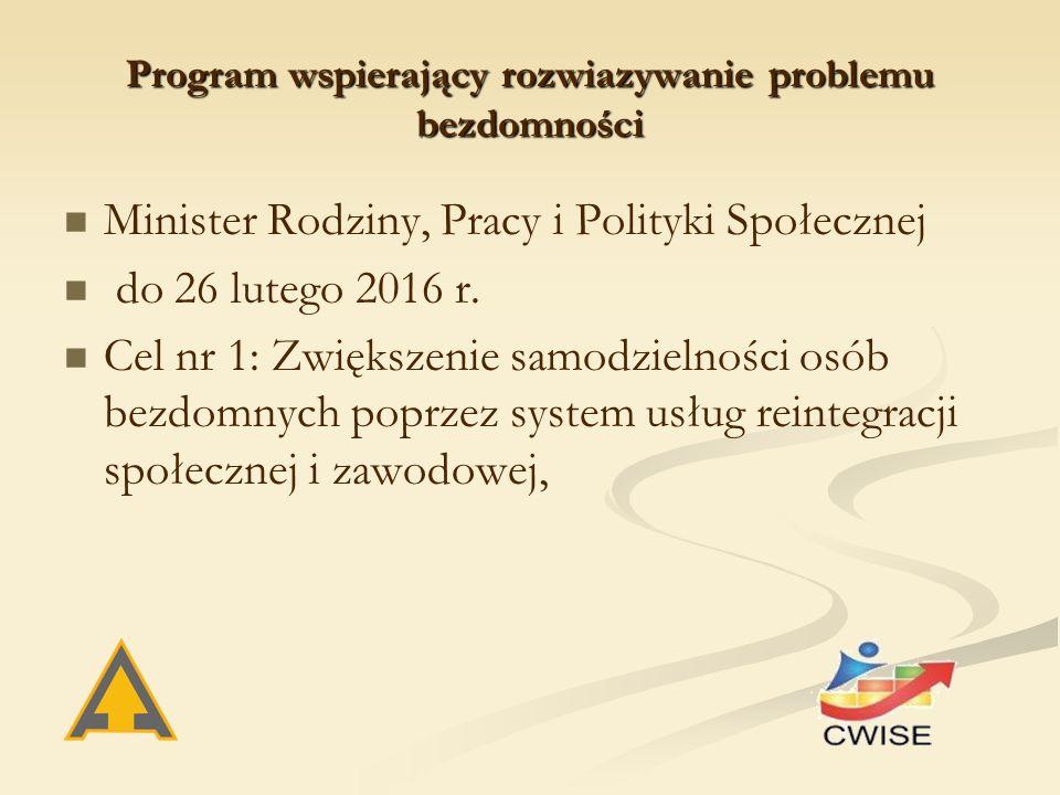 Program wspierający rozwiazywanie problemu bezdomności Minister Rodziny, Pracy i Polityki Społecznej do 26 lutego 2016 r.
