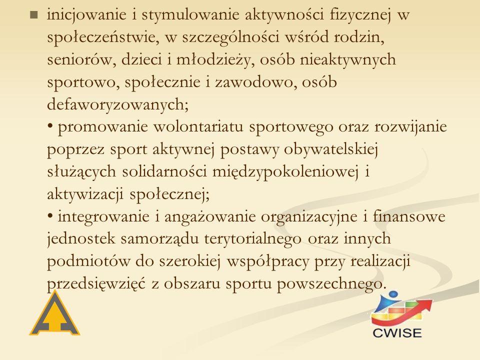 inicjowanie i stymulowanie aktywności fizycznej w społeczeństwie, w szczególności wśród rodzin, seniorów, dzieci i młodzieży, osób nieaktywnych sportowo, społecznie i zawodowo, osób defaworyzowanych; promowanie wolontariatu sportowego oraz rozwijanie poprzez sport aktywnej postawy obywatelskiej służących solidarności międzypokoleniowej i aktywizacji społecznej; integrowanie i angażowanie organizacyjne i finansowe jednostek samorządu terytorialnego oraz innych podmiotów do szerokiej współpracy przy realizacji przedsięwzięć z obszaru sportu powszechnego.