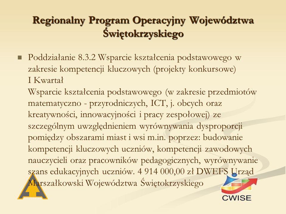 Regionalny Program Operacyjny Województwa Świętokrzyskiego Poddziałanie 8.3.2 Wsparcie kształcenia podstawowego w zakresie kompetencji kluczowych (projekty konkursowe) I Kwartał Wsparcie kształcenia podstawowego (w zakresie przedmiotów matematyczno - przyrodniczych, ICT, j.