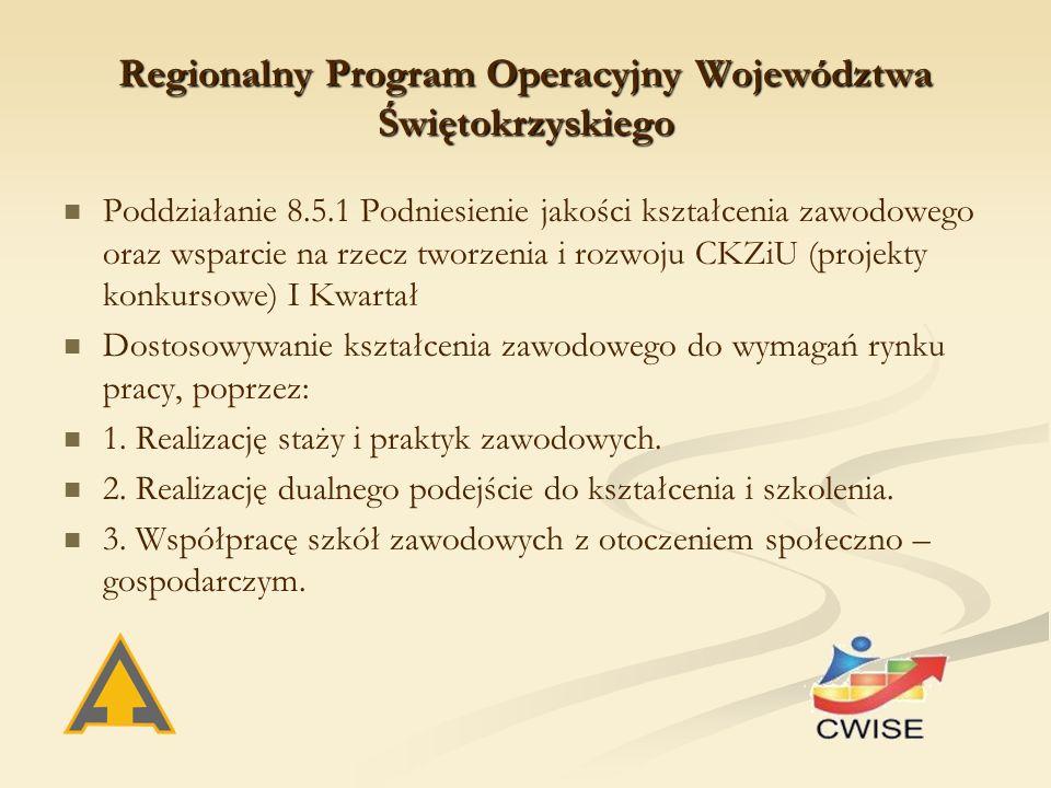 Regionalny Program Operacyjny Województwa Świętokrzyskiego Poddziałanie 8.5.1 Podniesienie jakości kształcenia zawodowego oraz wsparcie na rzecz tworzenia i rozwoju CKZiU (projekty konkursowe) I Kwartał Dostosowywanie kształcenia zawodowego do wymagań rynku pracy, poprzez: 1.