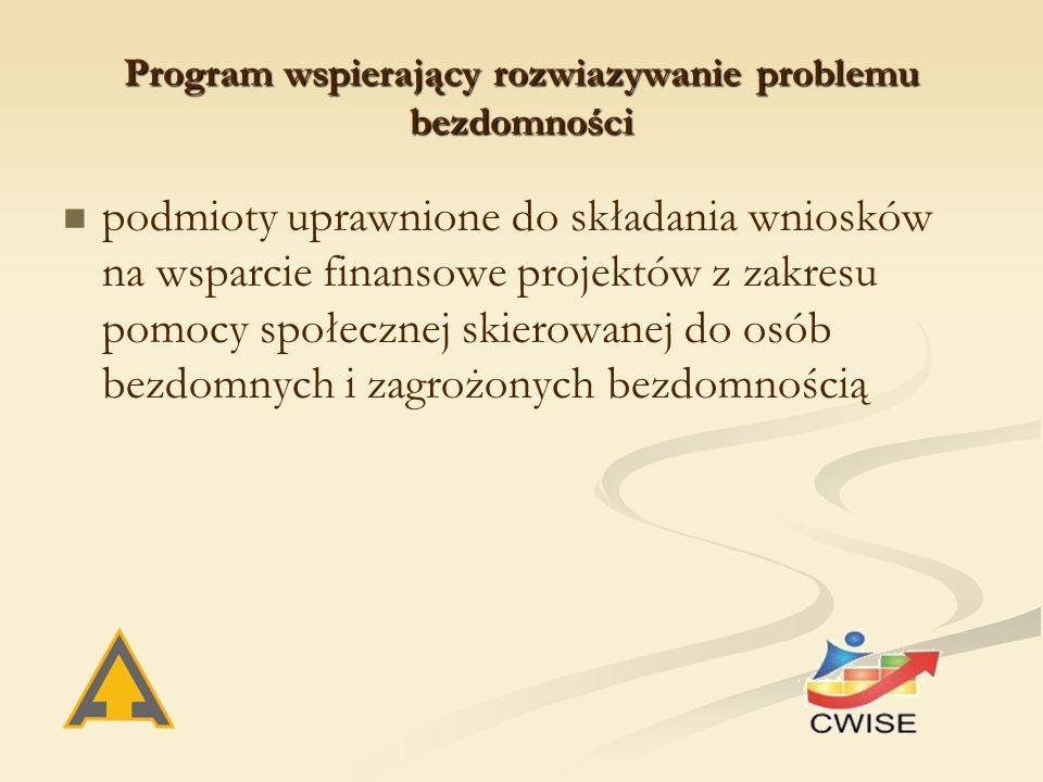 Program wspierający rozwiazywanie problemu bezdomności podmioty uprawnione do składania wniosków na wsparcie finansowe projektów z zakresu pomocy społecznej skierowanej do osób bezdomnych i zagrożonych bezdomnością