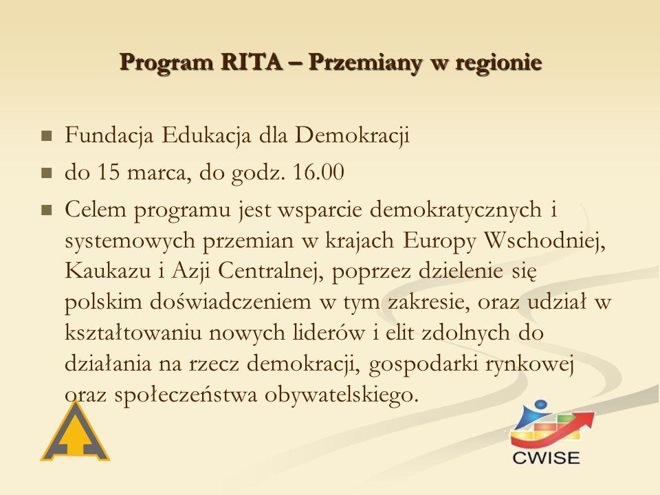 Program RITA – Przemiany w regionie Fundacja Edukacja dla Demokracji do 15 marca, do godz.