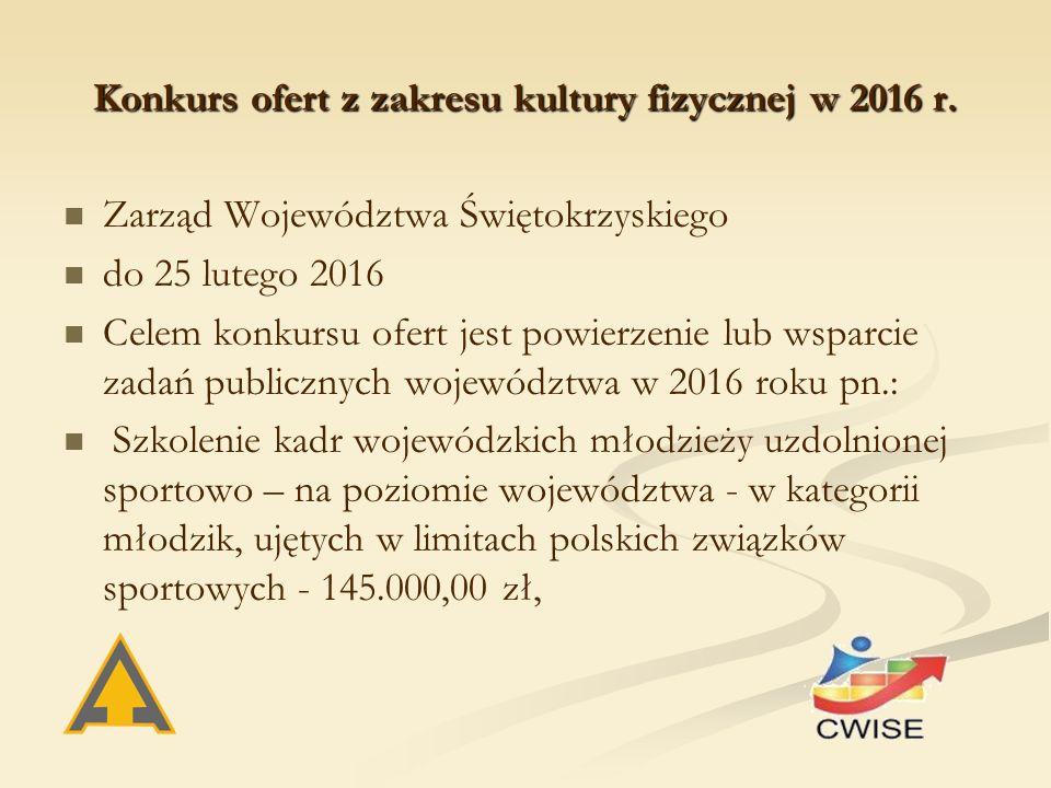 Konkurs ofert z zakresu kultury fizycznej w 2016 r.
